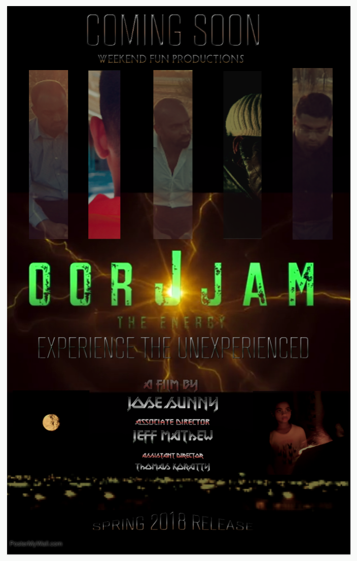 "Poster for short film ""Oorjam (The Energy)"" - experience the unexperienced."